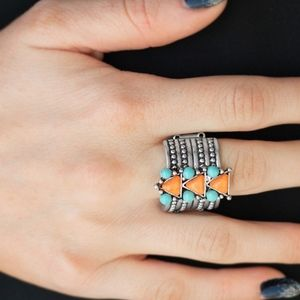 Point Me To Phoenix Orange Turquoise Ring Band